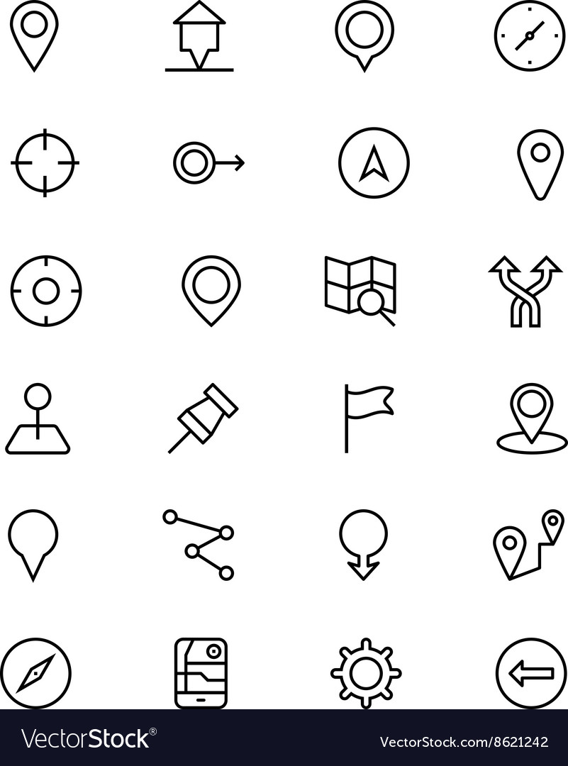 Navigation line icons 1 vector