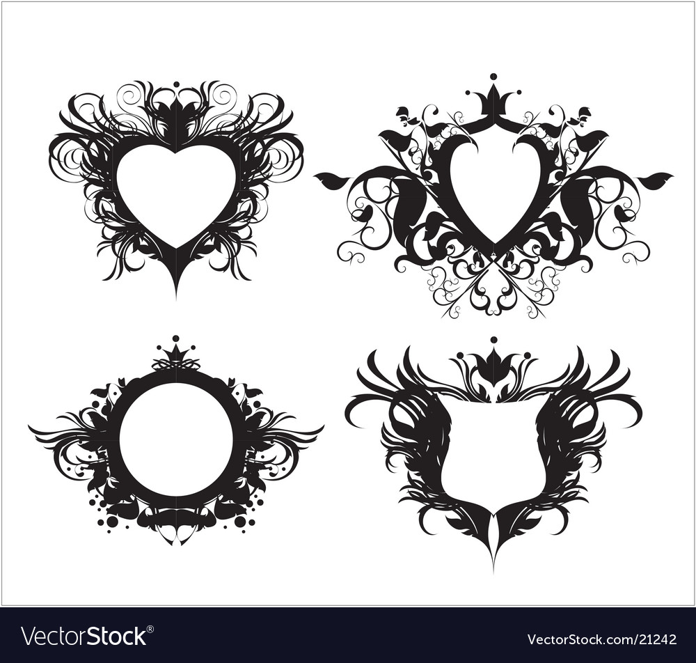 Ornate shields vector