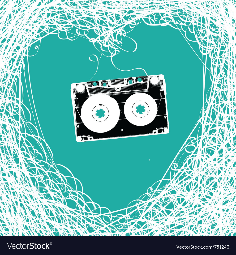 Cassette heart tangled vector