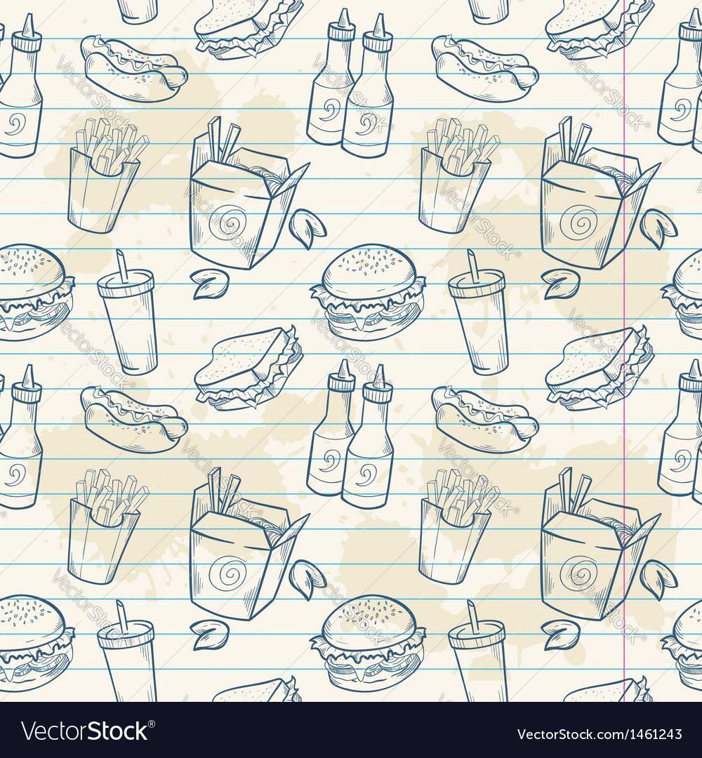 Fastfood delicious hand drawn seamless pattern vector