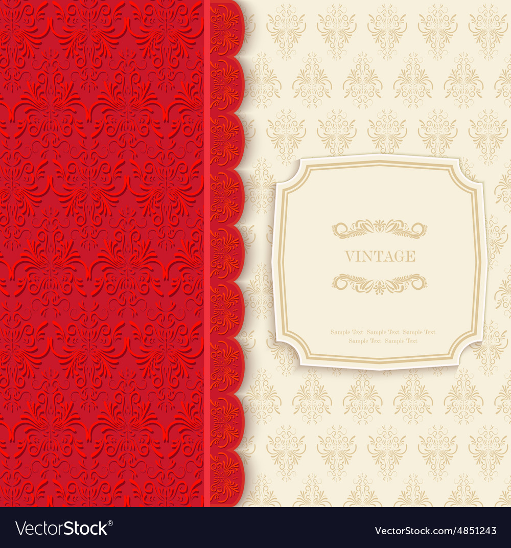 Vintage background red greeting card vector