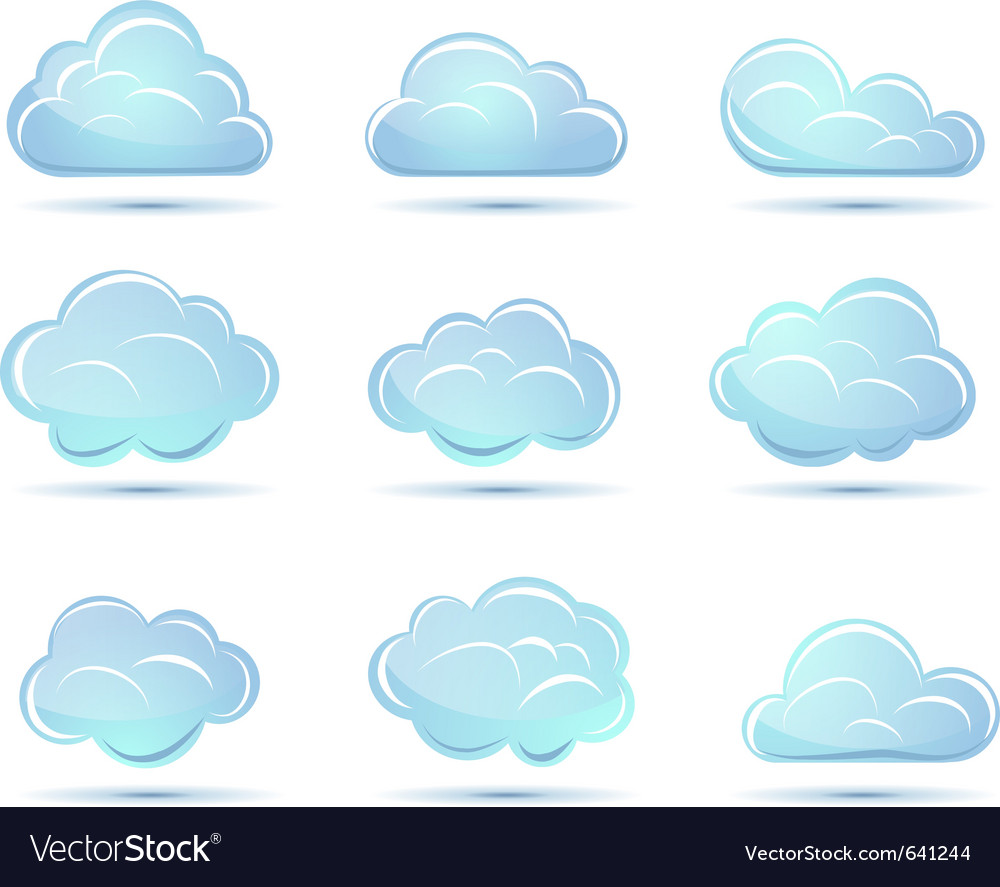 Clouds collection weather icons vector