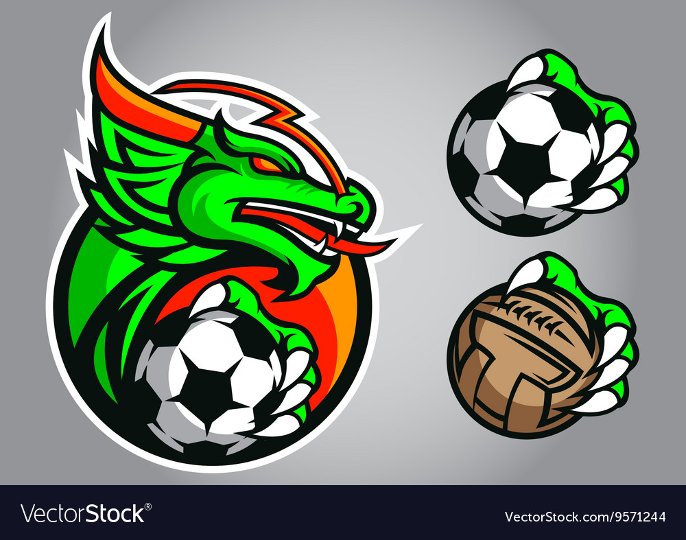 Dragon emblem logo football vector