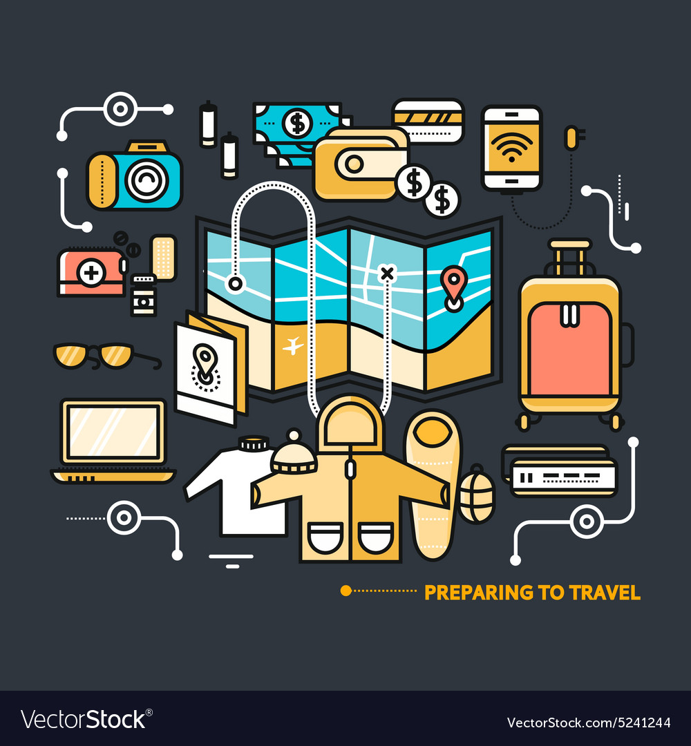 Preparing travel necessary what to pack vector