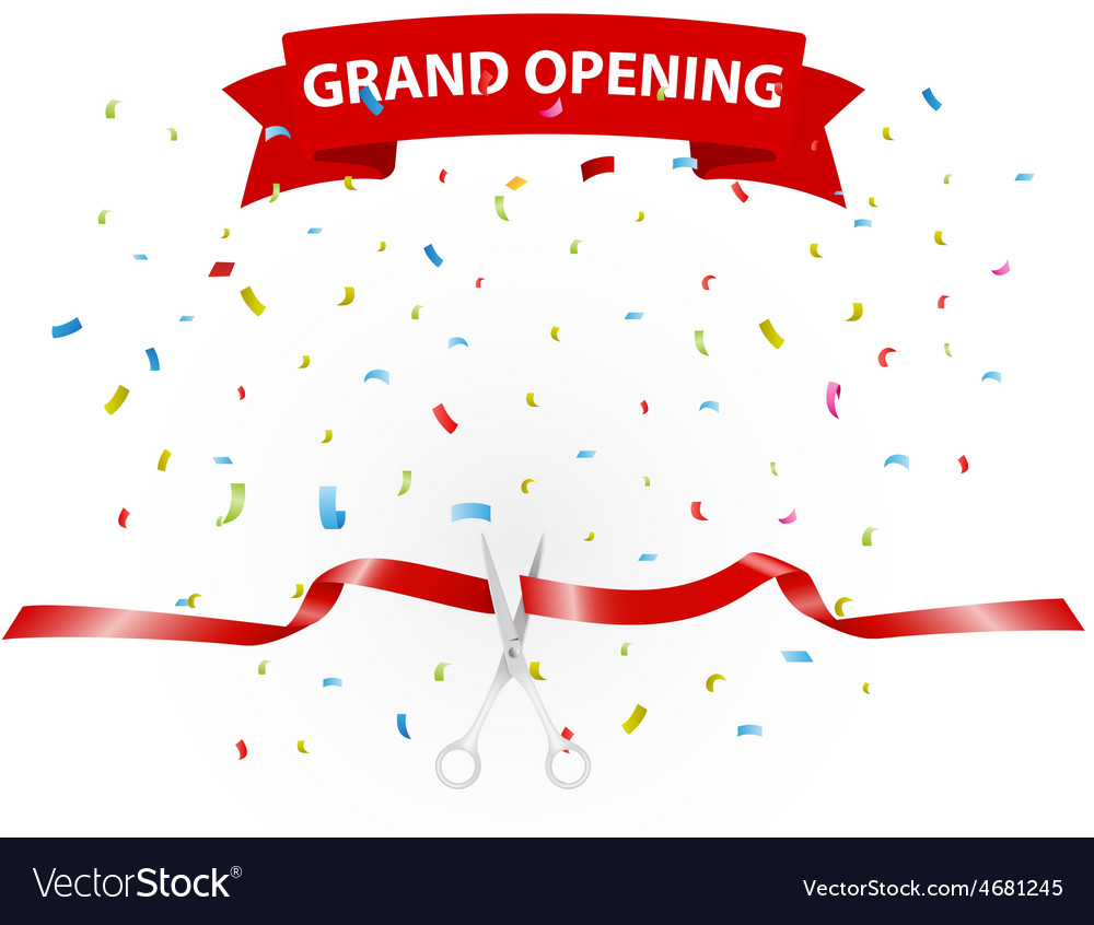 Grand opening background with confetti vector