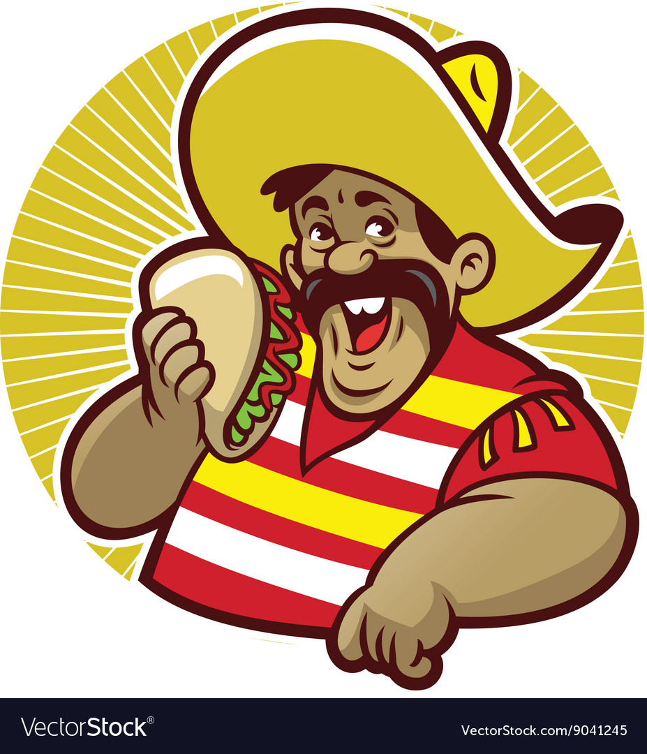 Mascot mexican male with taco vector