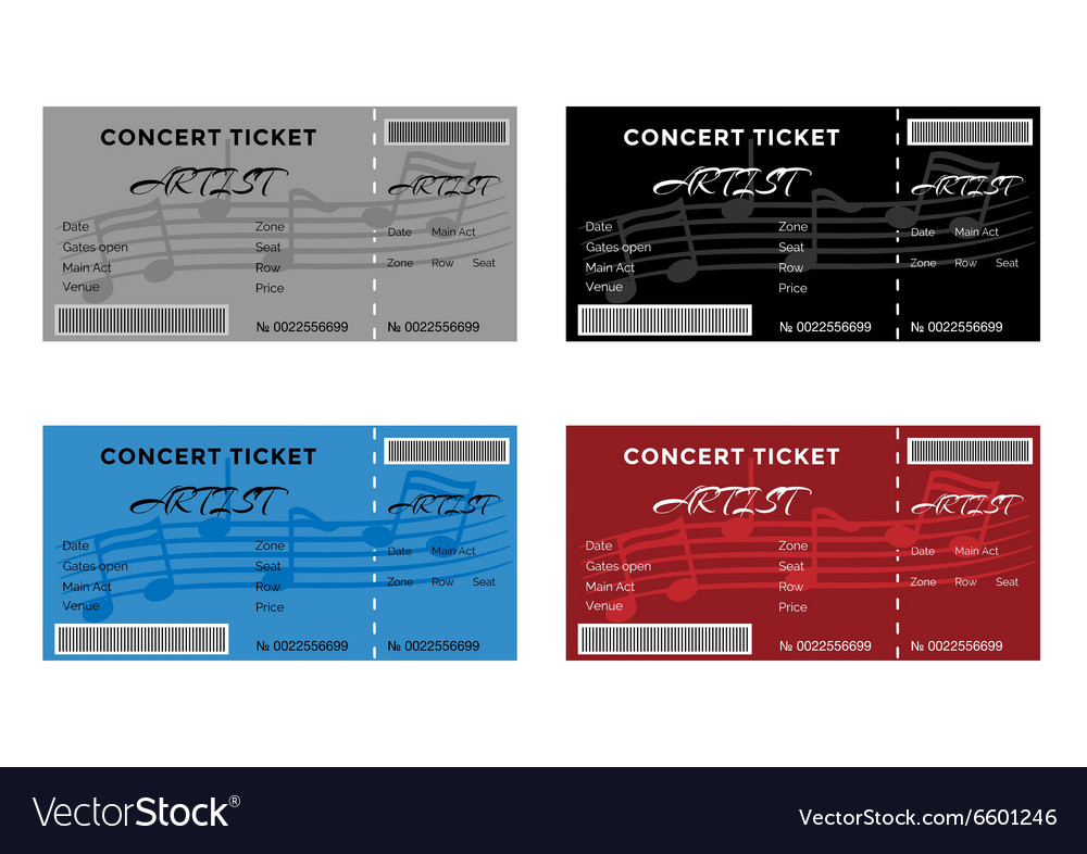 Set of colorful concert tickets with musical notes vector