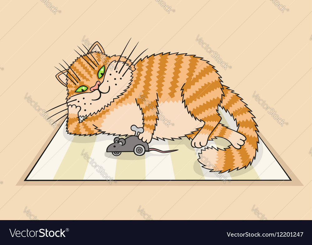 Cat playing with a toy vector