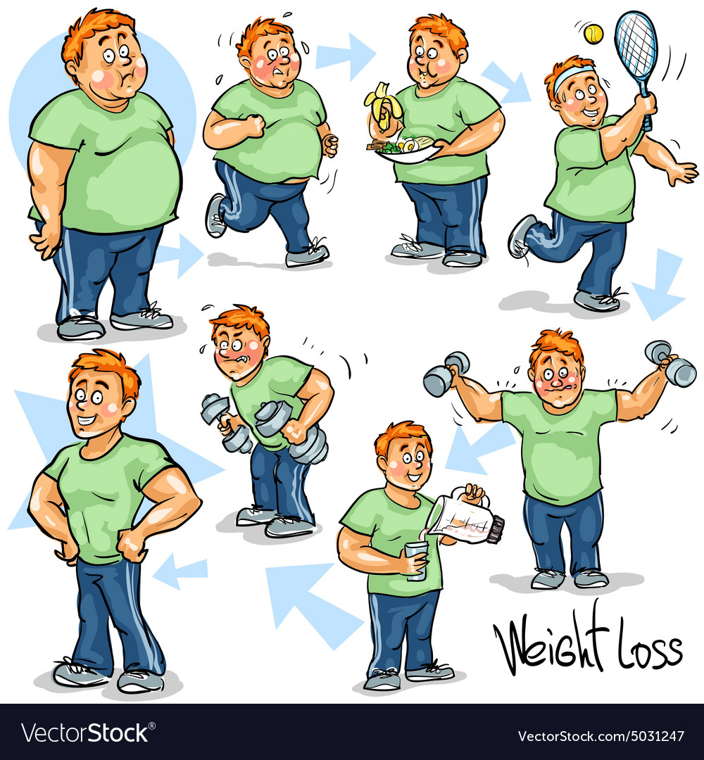 Man achieving his weightloss goal vector
