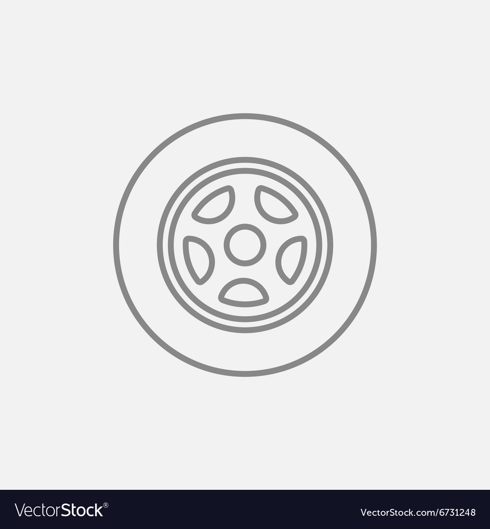 Car wheel line icon vector