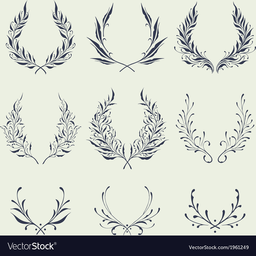 Floral wreath ornaments vector