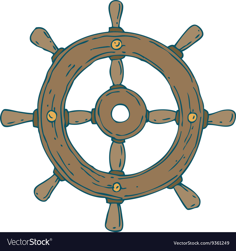 Retro ship steering wheel vector