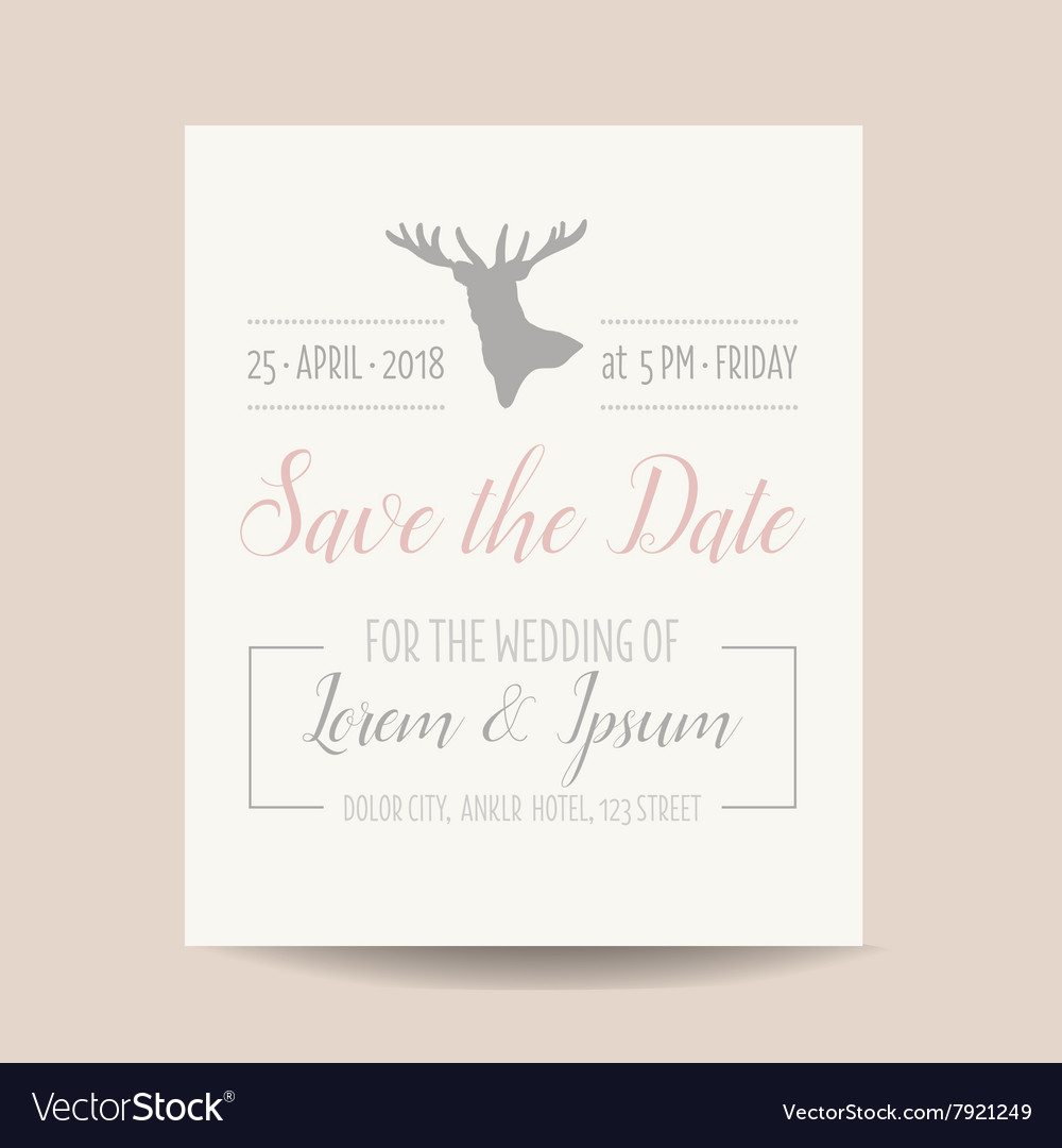 Wedding invitation card  save the date vector