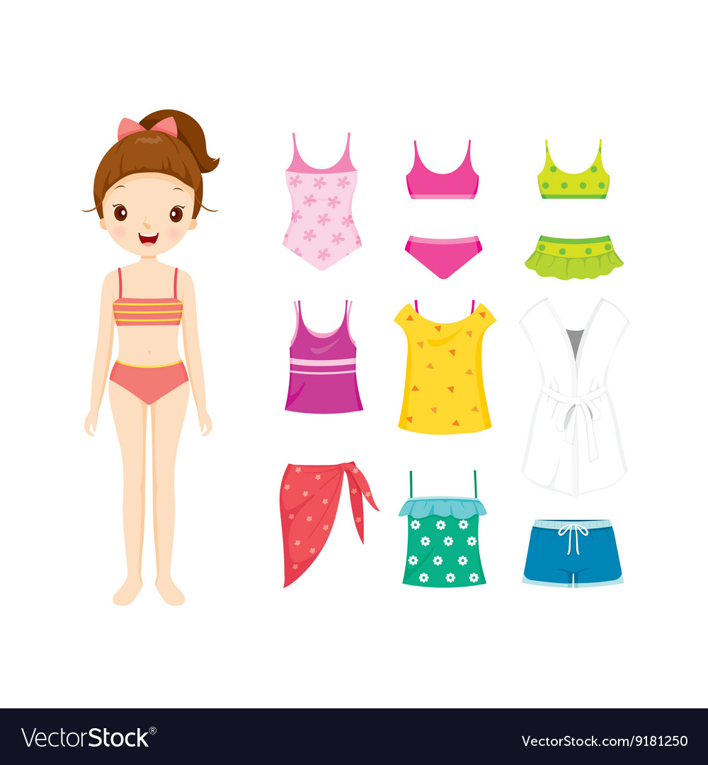 Girl in bikini and clothes set for summer vector