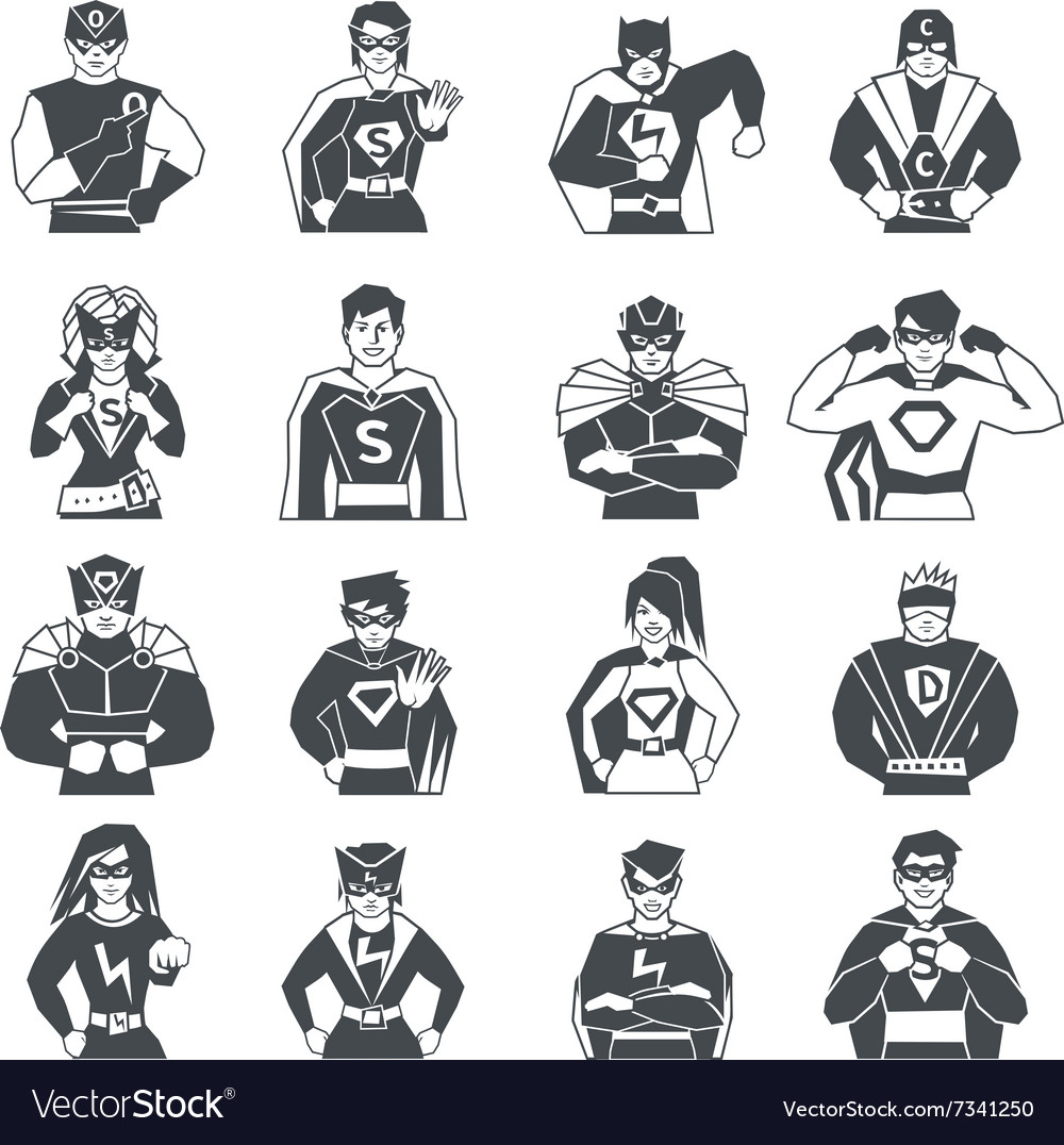 Superhero black white icons set vector