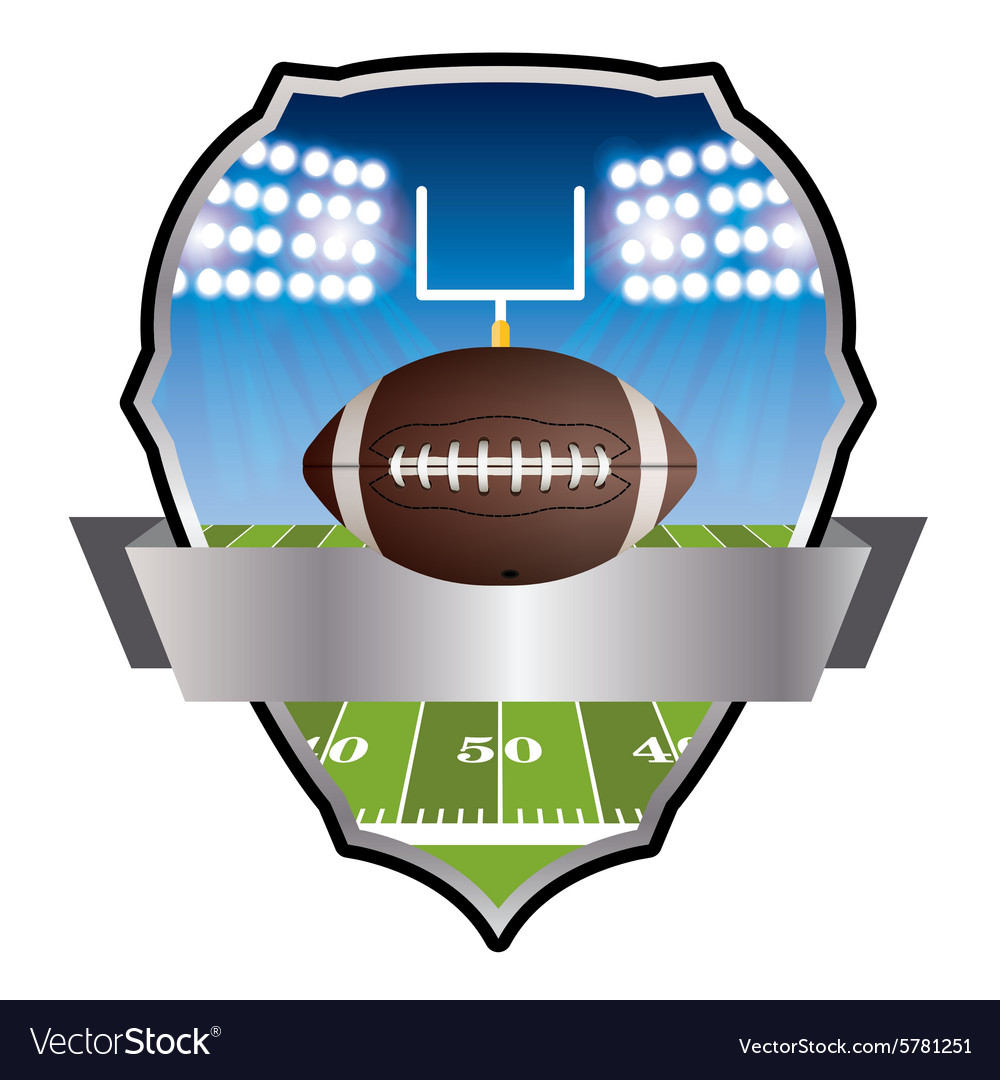 American football field and field goal emblem vector
