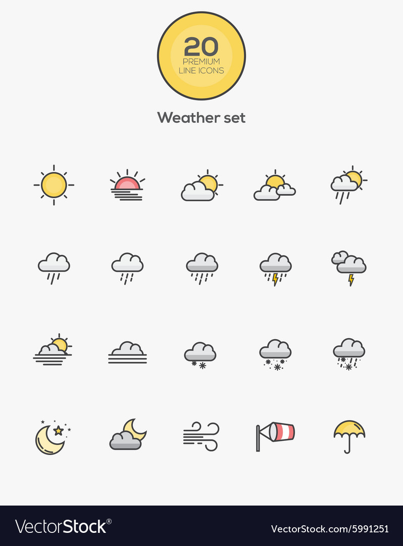 Flat line color icons weather vector