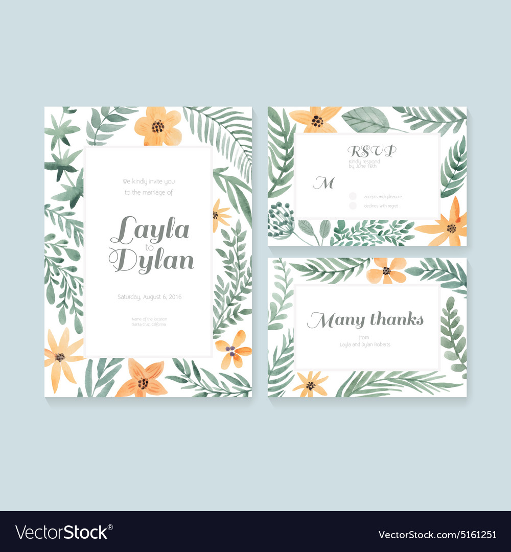 Wedding cards collection vector