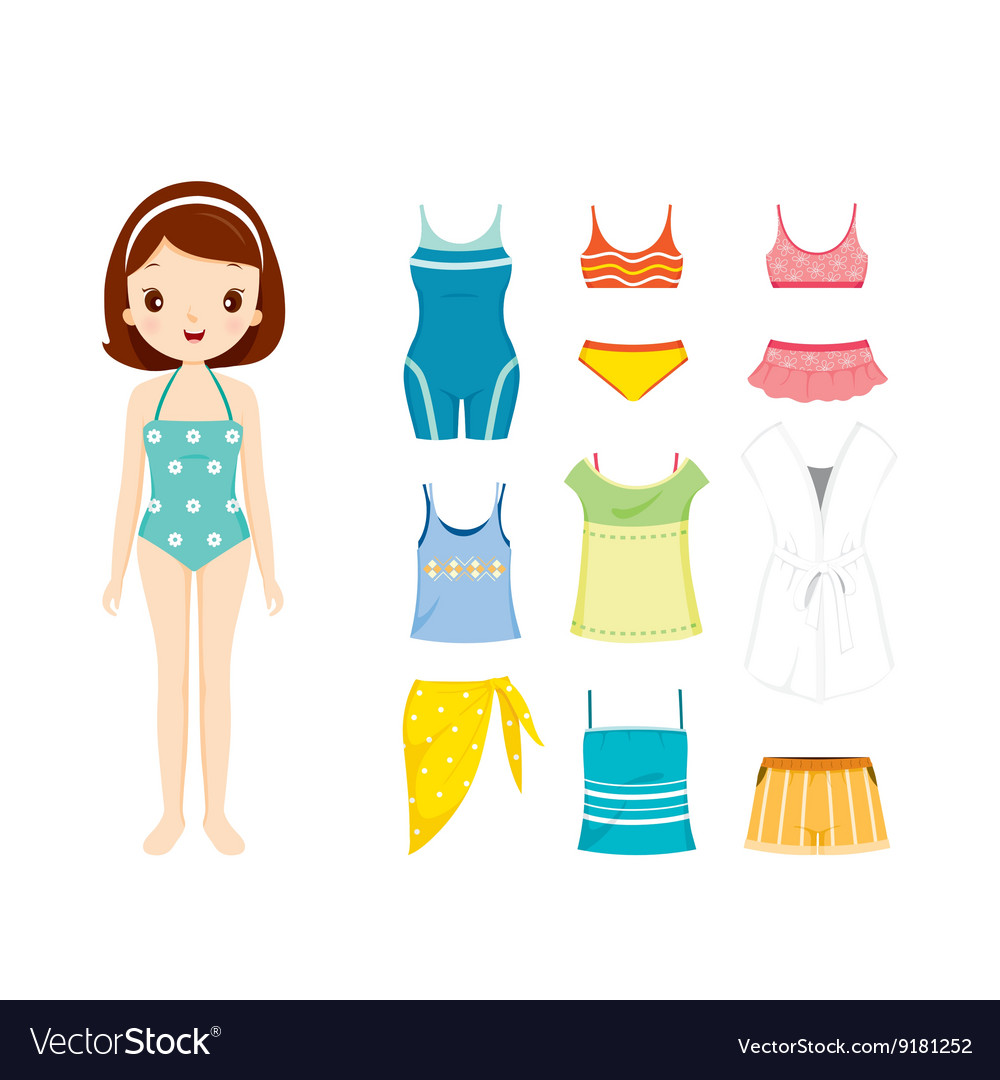 Girl in swimming suit and clothes set for summer vector