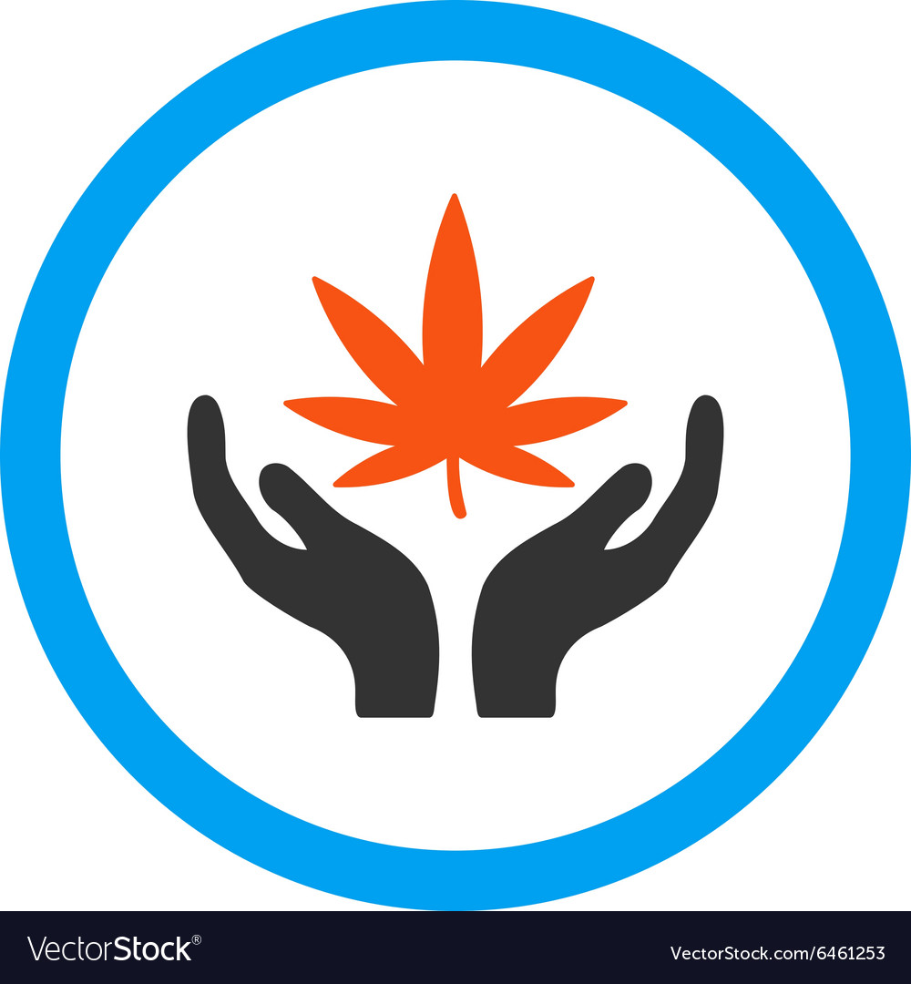 Cannabis care rounded icon vector