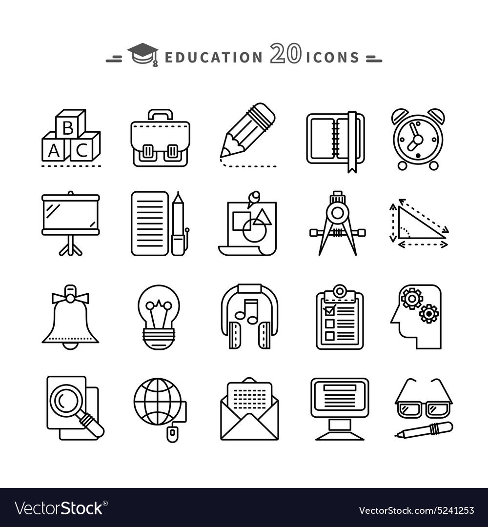 Set of outline education icons on white background vector