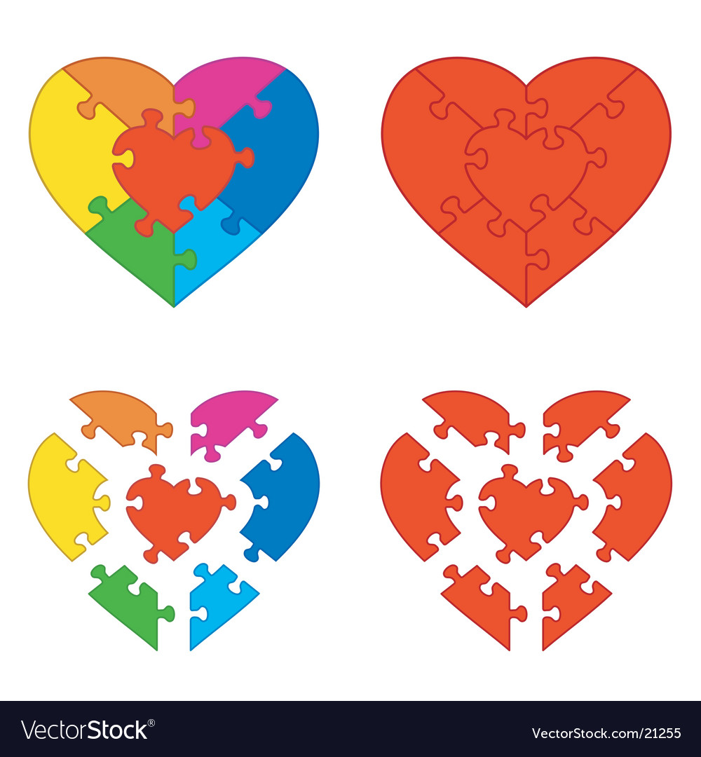 Heart puzzle vector