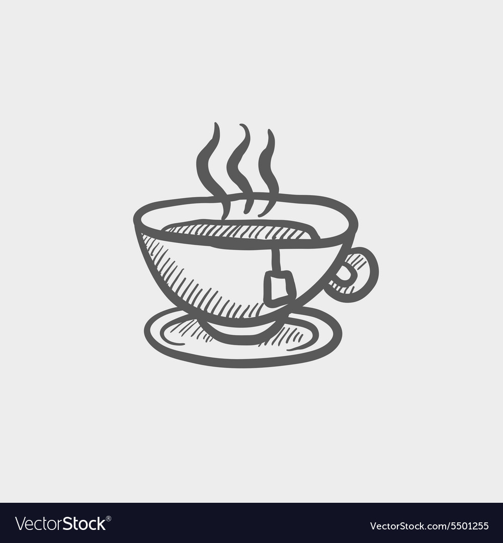 Hot tea in a cup sketch icon vector