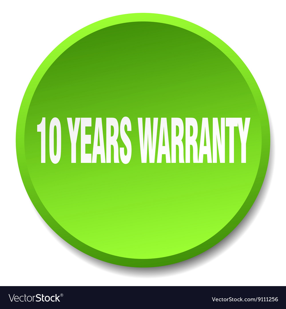 10 years warranty green round flat isolated push vector