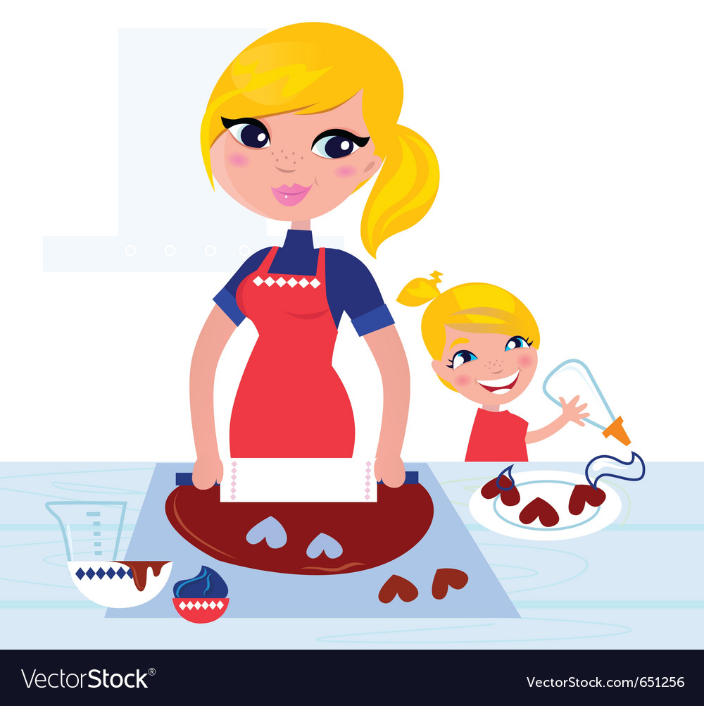 Child helping mother vector