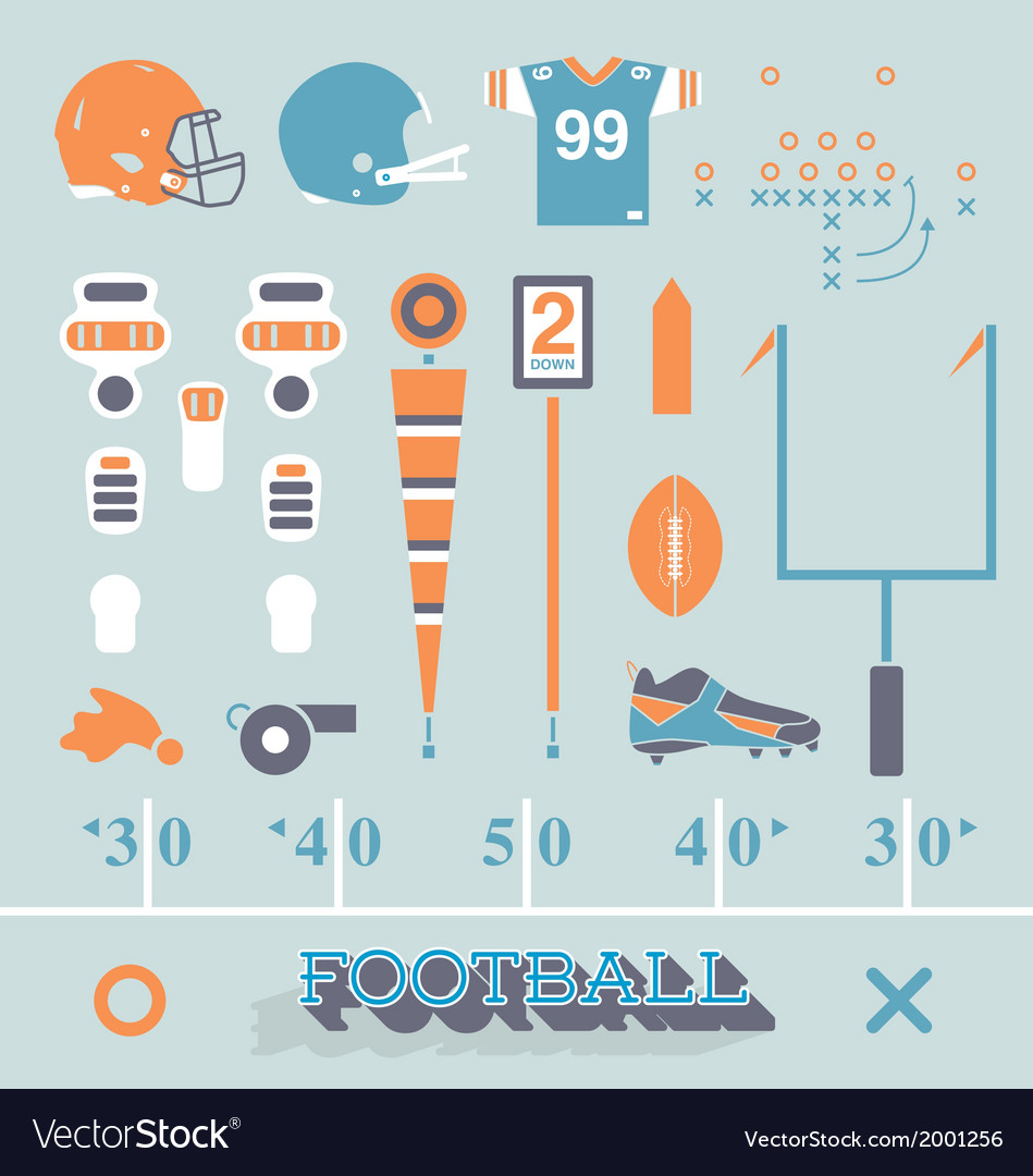 Football equipment icons and symbols vector