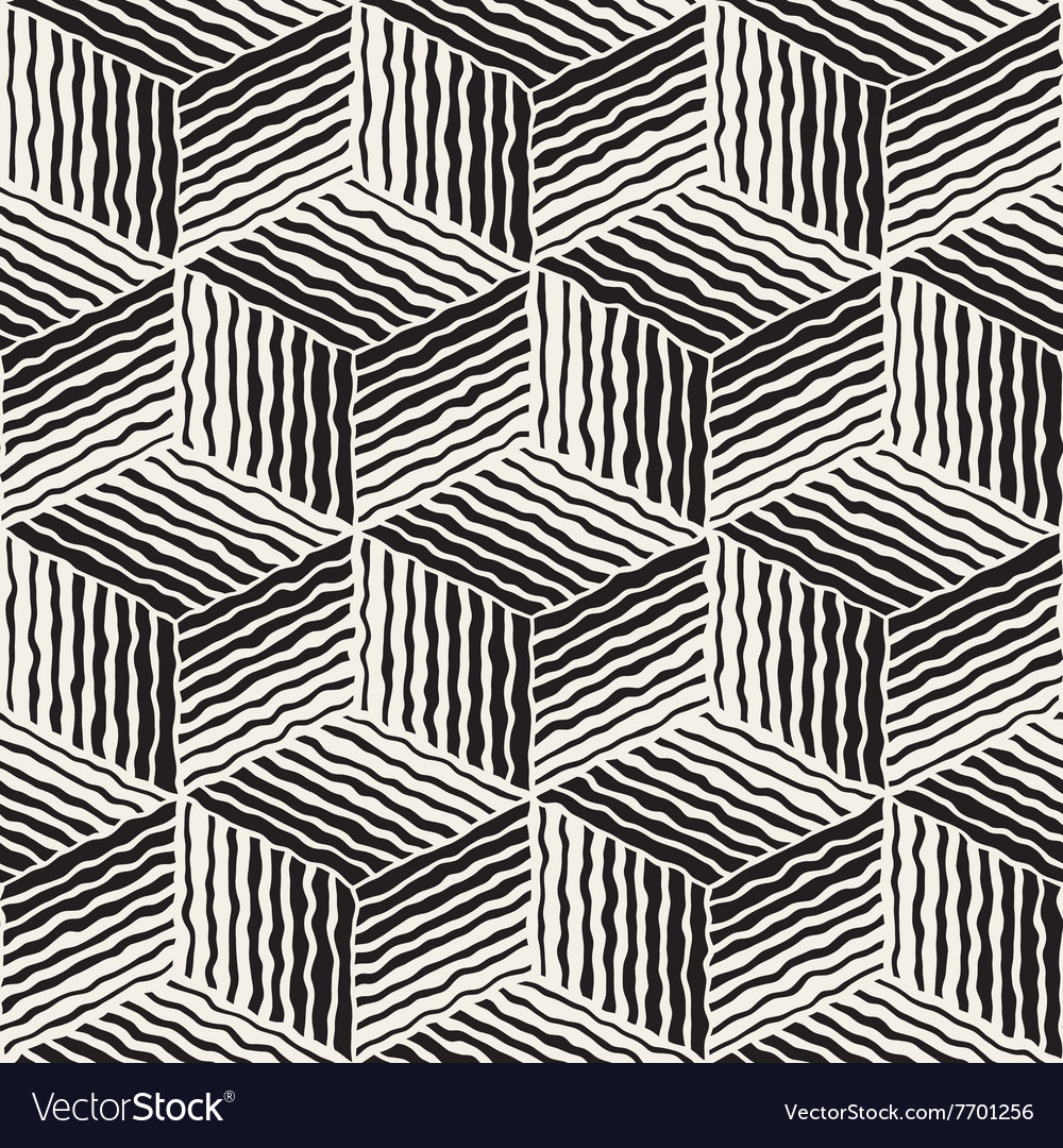 Seamless geometric stripes cube pattern vector
