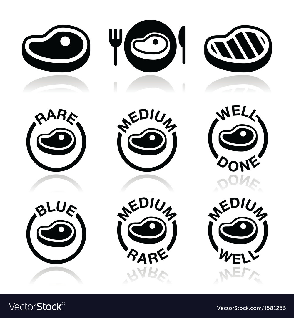 Steak  medium rare well done grilled icons set vector