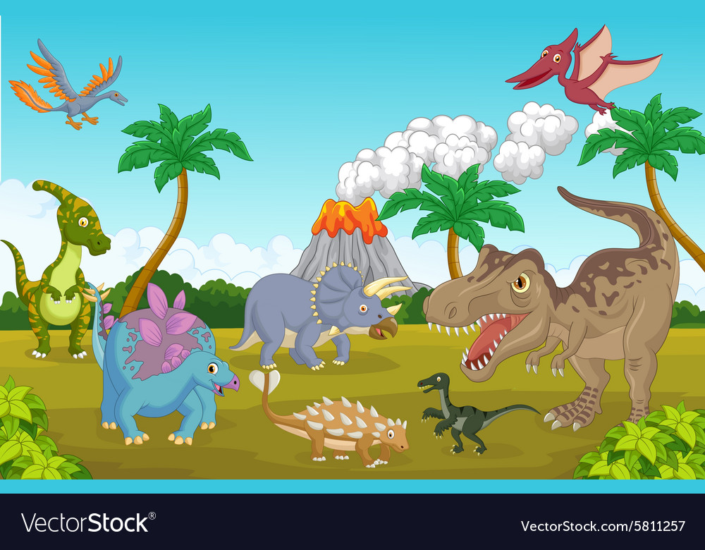 Cute dinosaur happy vector