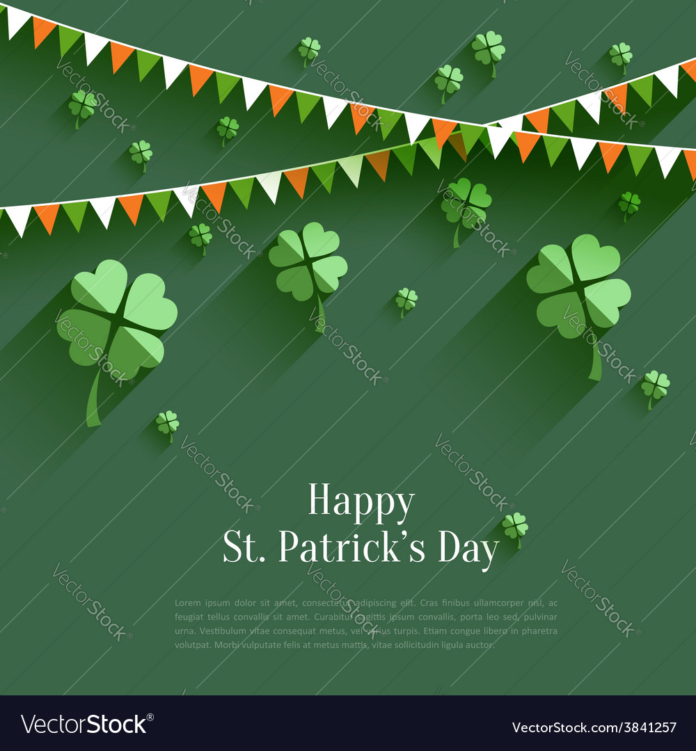 Happy st patricks day  greeting card in flat vector