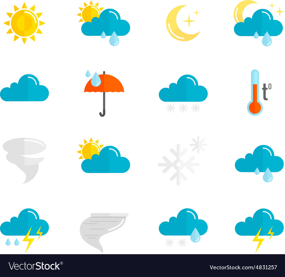 Weather icons flat set vector