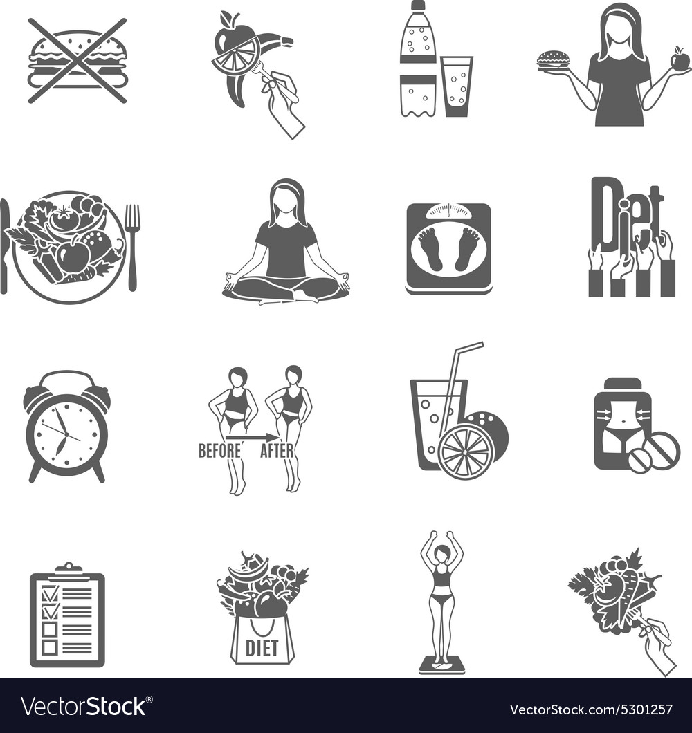 Weight loose diet black icons set vector