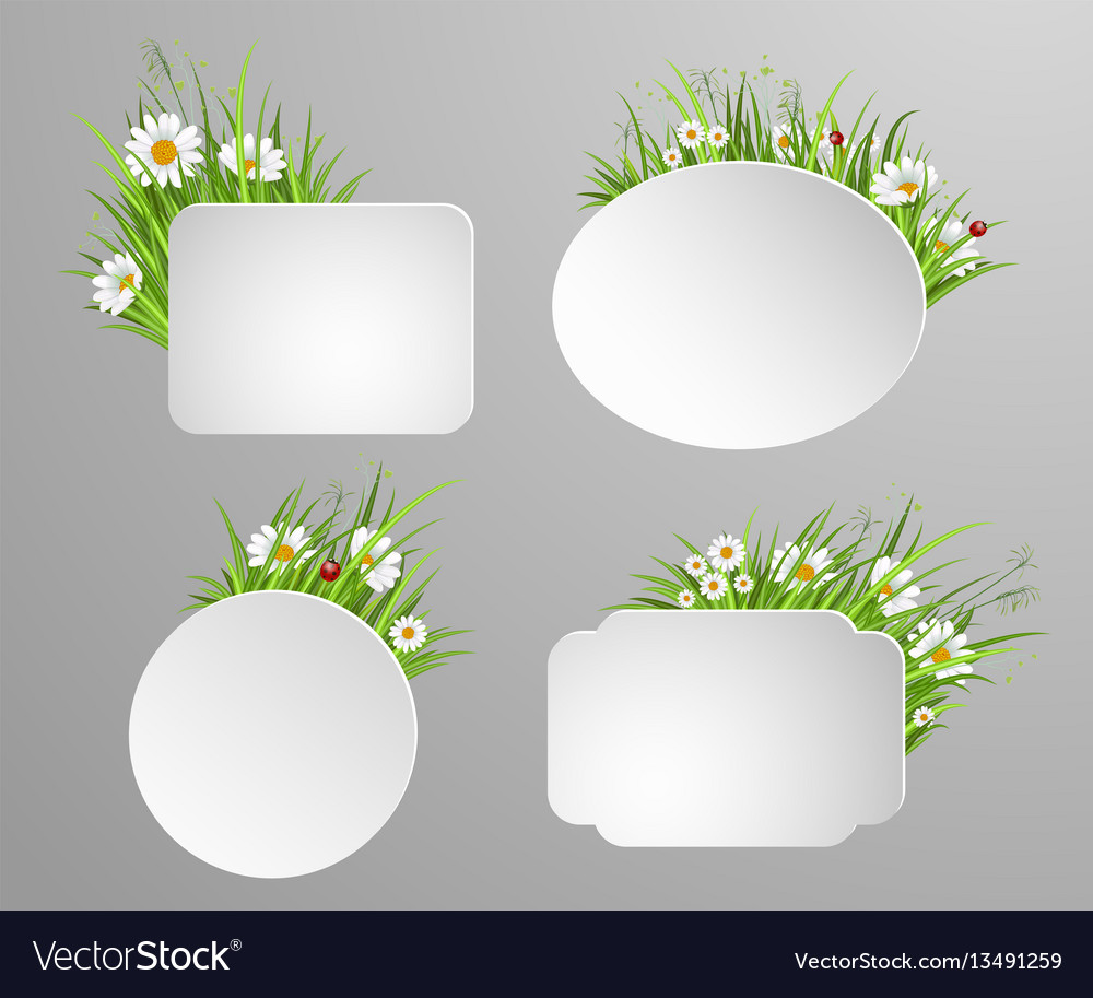Green grass frame with copy space vector