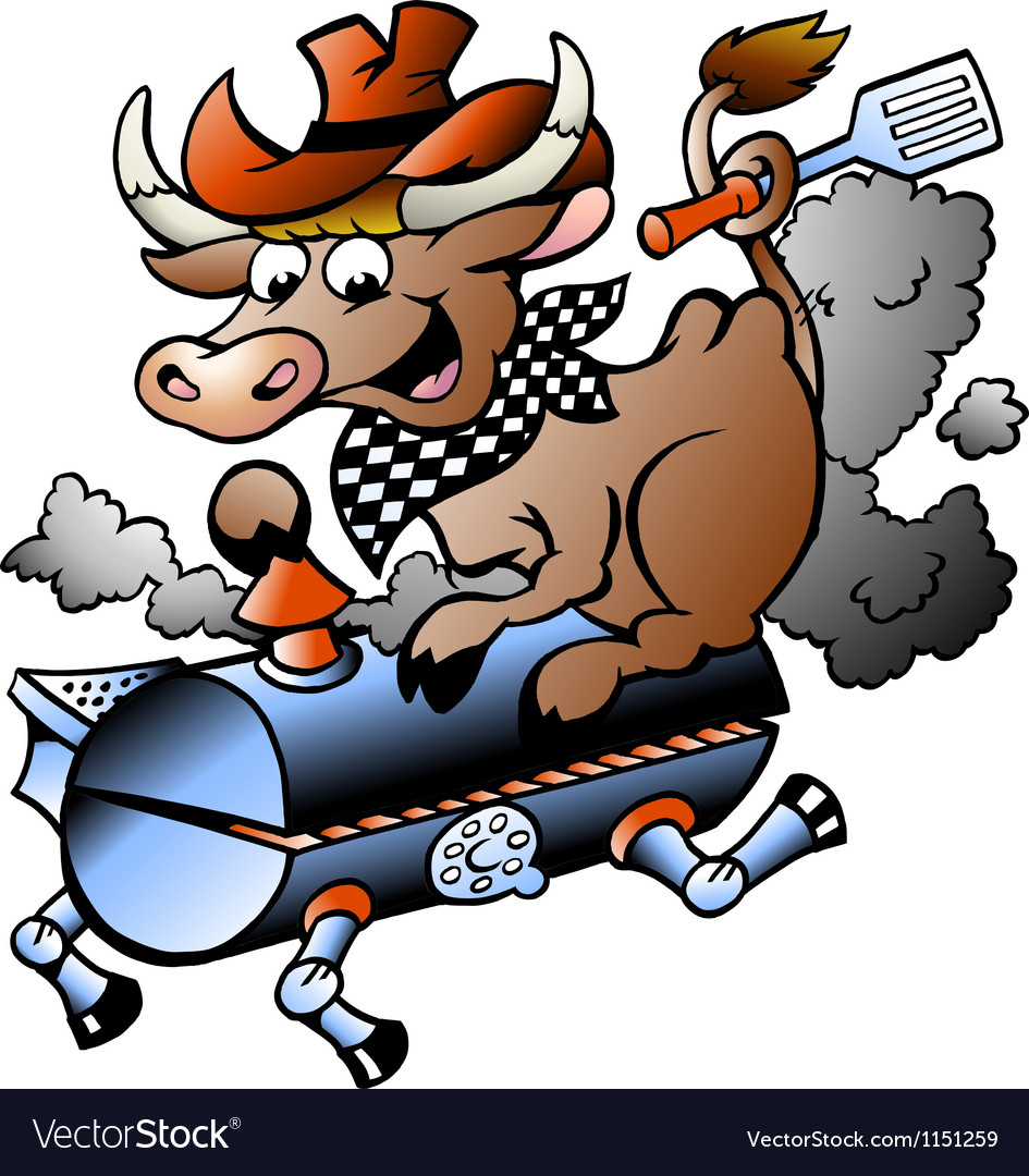 Handdrawn of an cow riding a bbq barrel vector