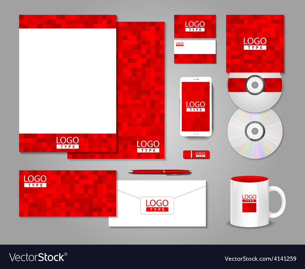 Red corporate identity template design vector