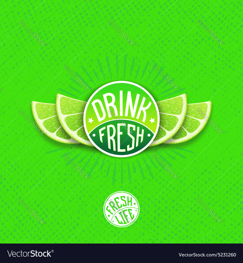 Drink fresh juice label vector