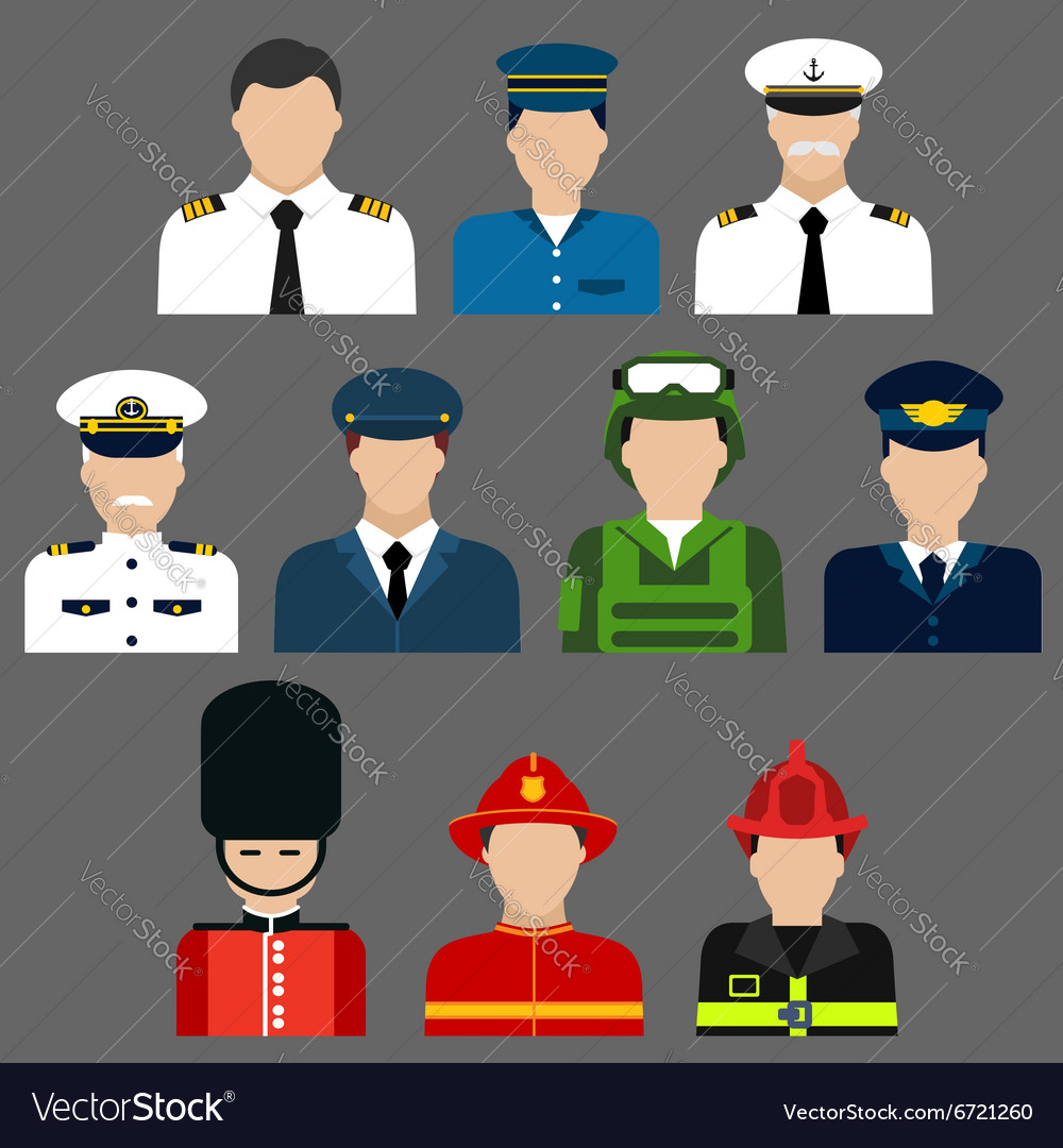 Firefighter soldier pilot and captains avatars vector