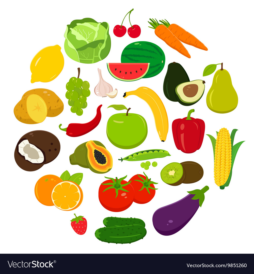 Fruits and vegetables icons organic fruits and vector