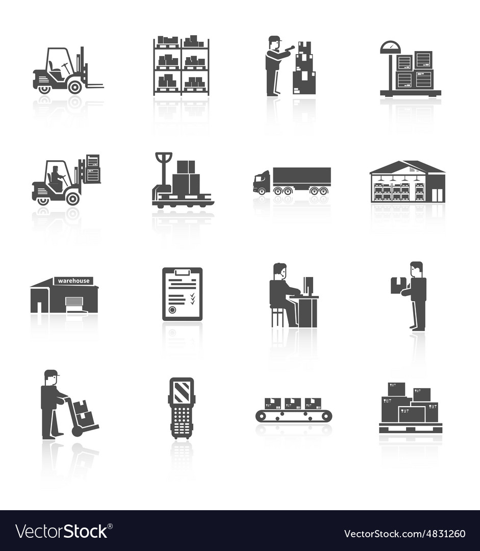 Warehouse icons set vector