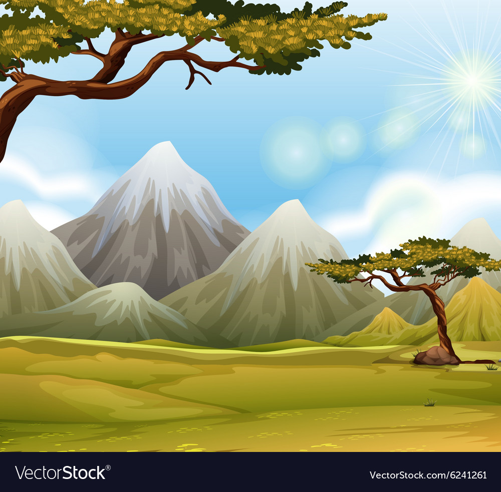 Mountain with snow on top vector