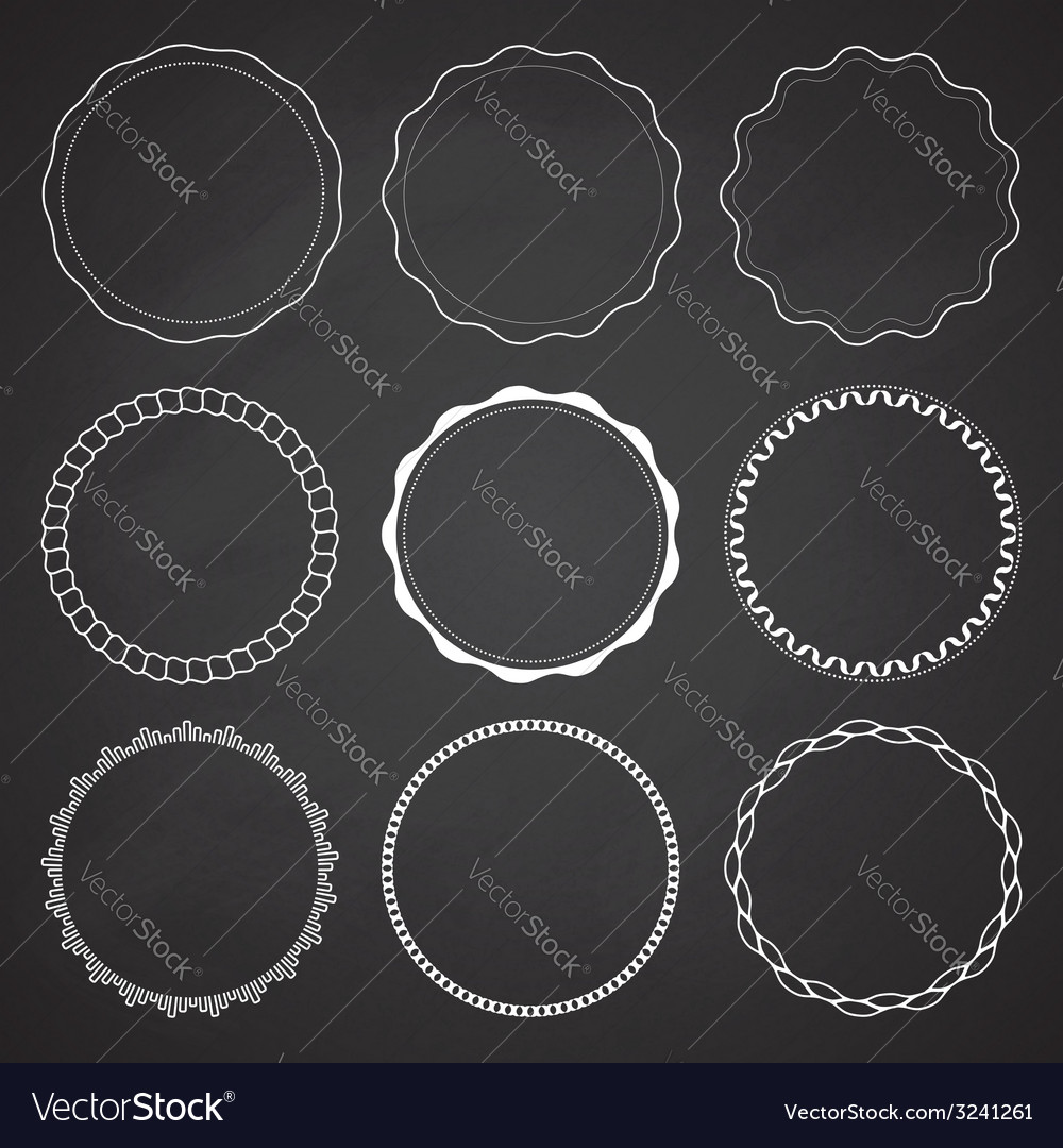 Set of 9 circle design frames vector