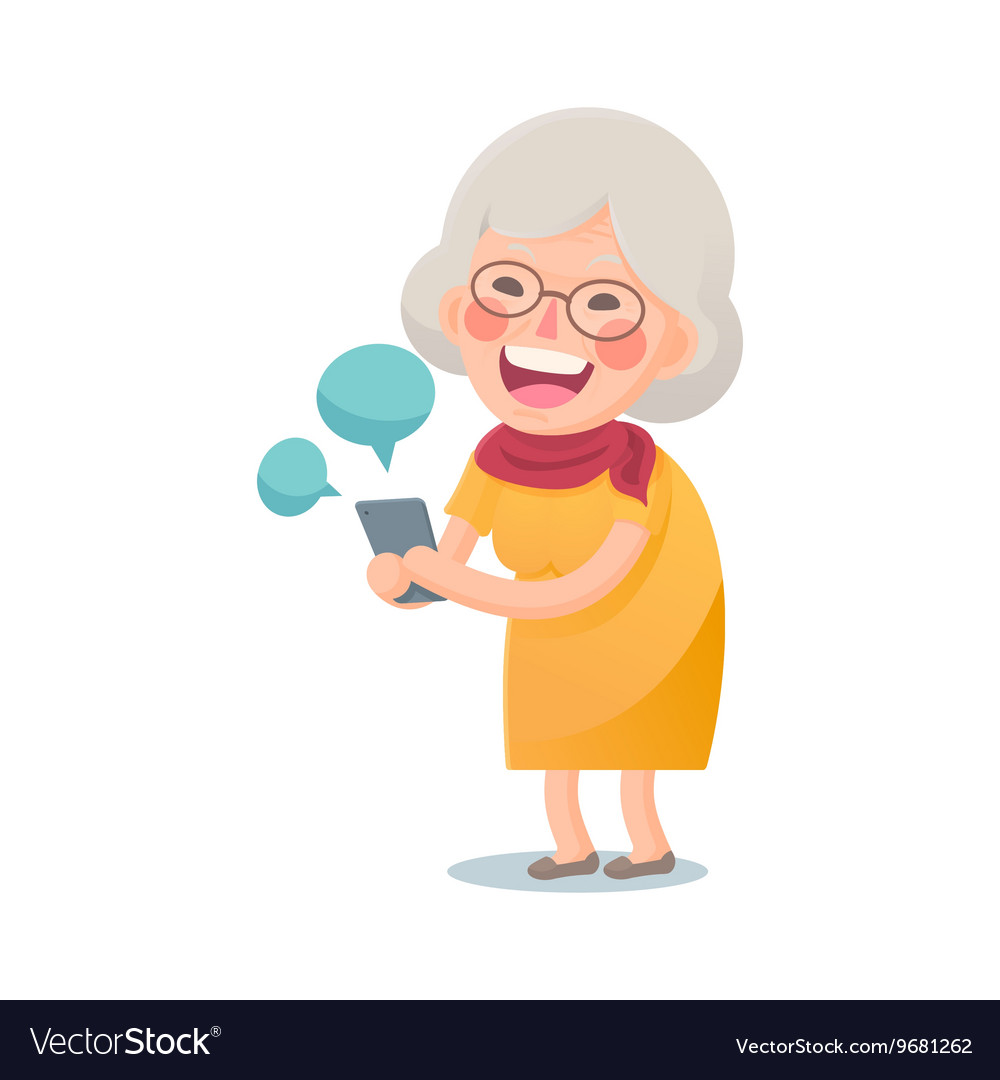 Happy old woman using smart phone vector