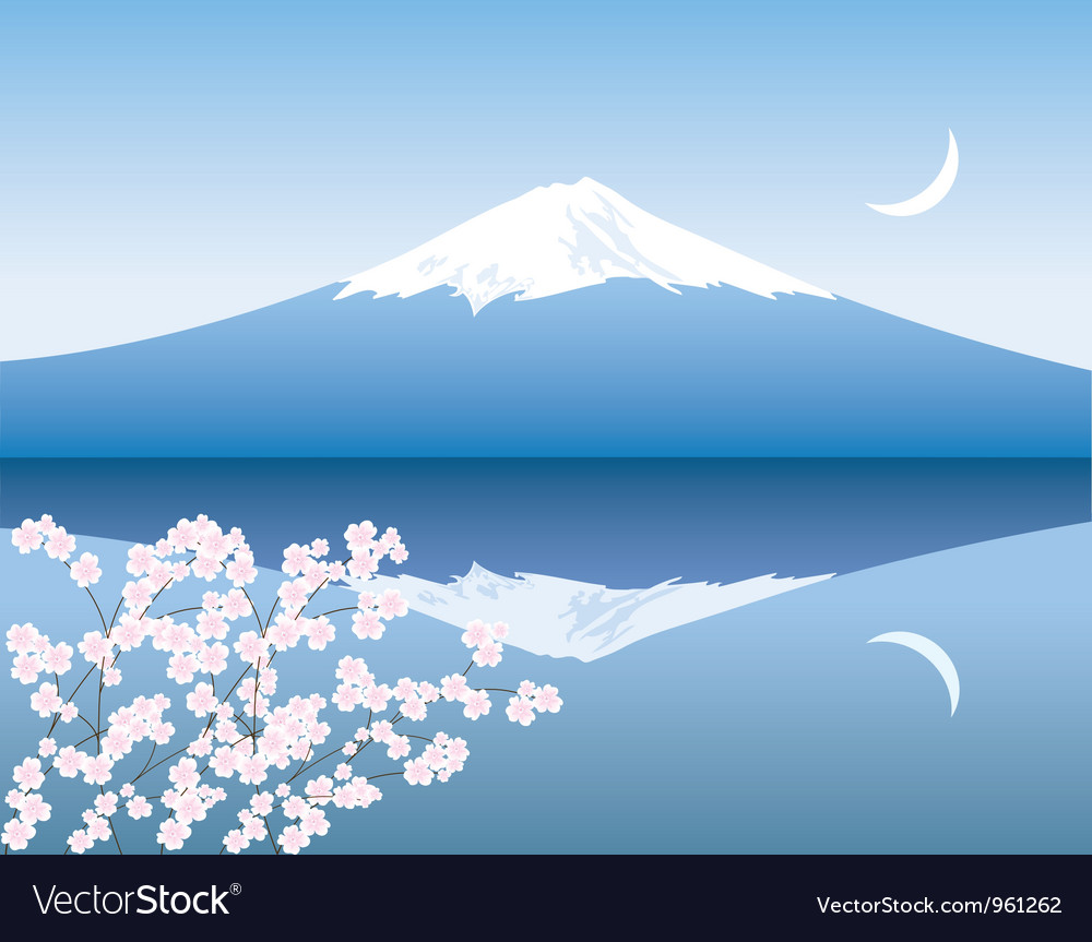 Mount fuji moon and sakura vector