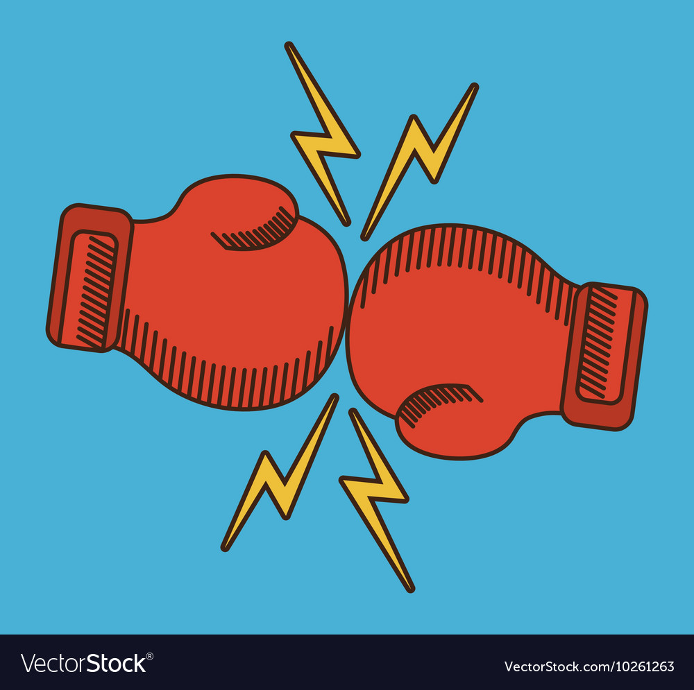 Glove red boxing sport design vector