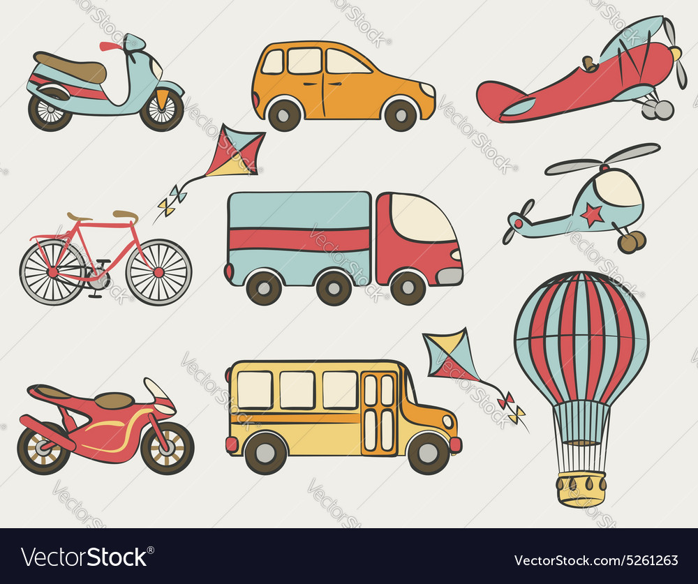 Handdrawn transportation icon set vector