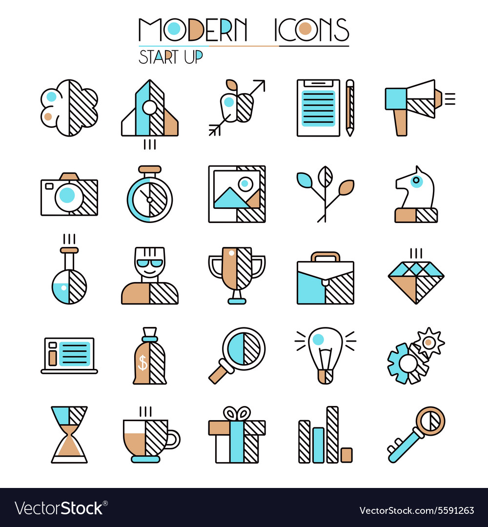 Start up icons set vector